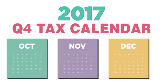 Here are some of the key tax-related deadlines affecting businesses and  other employers during the fourth quarter of 2017. Keep in mind that this  list isn't ...